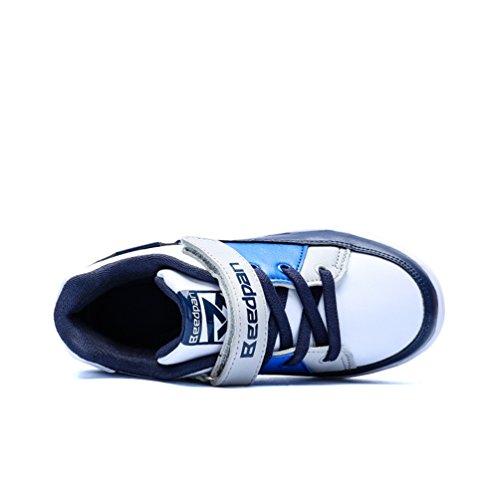 Dexuntong Niños Zapatillas de deporte Calzado infantil Zapatos casuales Antideslizante zapatillas para andar Sneakers Con velcro Azul1