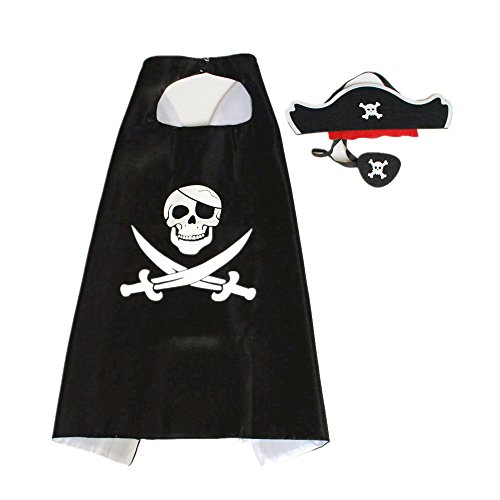 [Starkma pirate Costume Satin Cape Eyepatch with Felt Mask] (Toddler Boys Pirate Costumes)