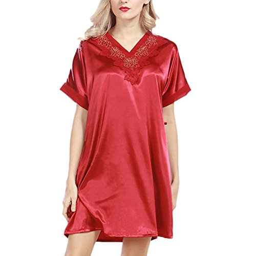 Zhuhaitf Alta calidad Summer Womens Short Sleeves Pajama Fashion Silk Sleepwear Wine Red