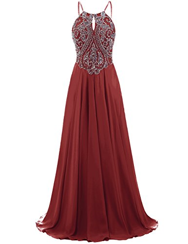 Chiffon Beaded Long Halter Dress - 4