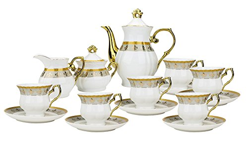Euro Porcelain 17-Pc. Fleur-de-Lis Tea Cup Coffee Set, Premium Bone China, 24K Gold-Plated, Complete Service for 6, Original Czech Tableware