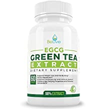 Green Tea Supplement EGCG Belly Fat Burner Weight Loss Pills for Women and Men - Anti-Aging - Boost Metabolism & Better Heart System - Pre Workout + Natural Energy - Detox Cleanse By BeLive