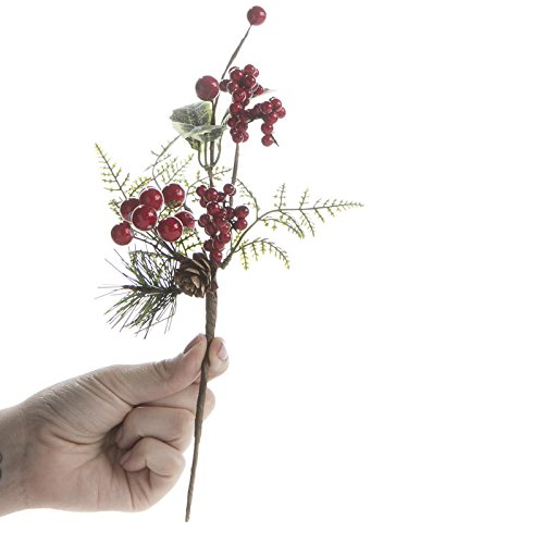 Factory Direct Craft Group of 6 Small Holiday Artificial Holly and Spruce Picks for Holiday and Home Decor
