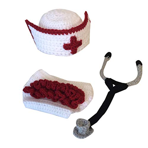KOROWA Newborn Baby Boy Girl Crochet Costume Knitted Outfits Baby Photography Props Nurse Cap Set (Costume Doormat)