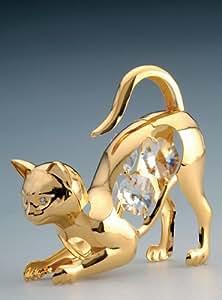 Cat Swarovski Crystal 24k Gold Plated Figurine NIB