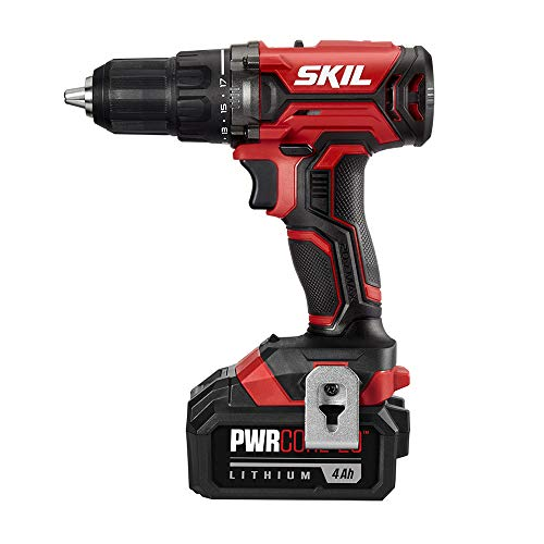 SKIL 20V 1/2 Inch Cordless Drill Driver, Includes 4.0Ah PWRCore 20 Lithium Battery and Charger – DL527503