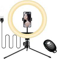 LEDリングライト【令和最新版】 撮影照明用 スマホ三脚 10インチ 3モード 10段階調光 スマホスタン ド 自撮り 生放送/美容化粧/YouTube/ビデオカメラ撮影用 LED卓上リングライト
