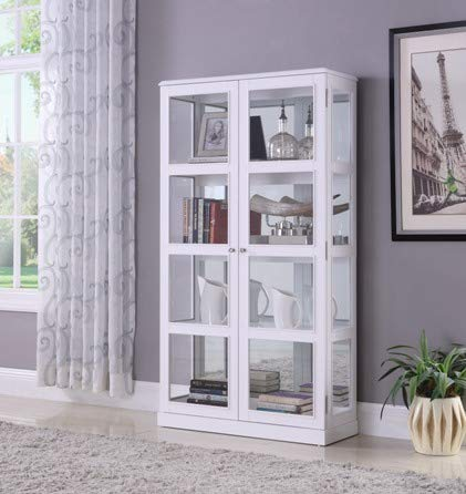 Double Door Curio Cabinet Including Mirror Back, Headlights - White by Mollai Collection