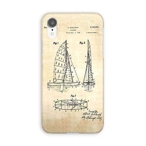 Compatible Sailboat Patent - Yacht Art - Antique Soft Gel Case/Replacement for, if Applicable for iPhone XR (Antique Yacht)