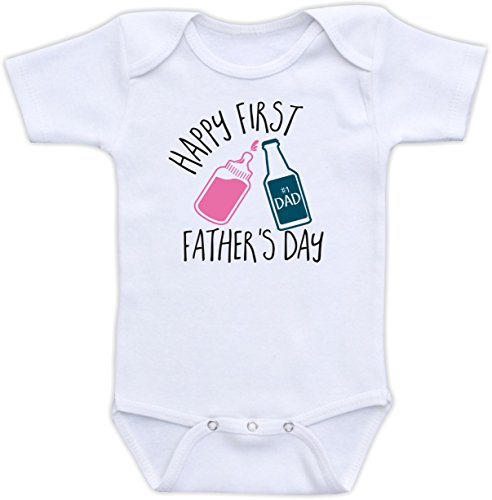 Happy First Father's Day - Cute Father's Day Baby Clothes Gift for Dad Baby Boy or Girl (3M Short Sleeve Bodysuit, Pink Baby Bottle)