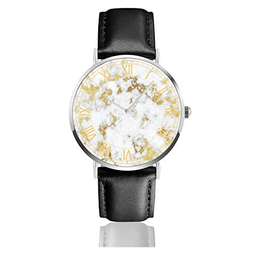 (Gold Marble Men's Ultra Thin Fashion Minimalist Wrist Watches and Luxury Leather Waterproof Quartz Casual Simple Watch for Women,Girls,Boys)