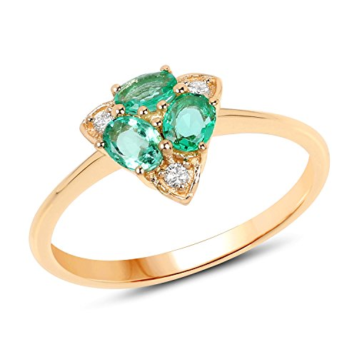 14K Yellow Gold Zambian Emerald and White Diamond Ring (0.50 cttw, I-J Color, I2-I3 Clarity) from Johareez ()