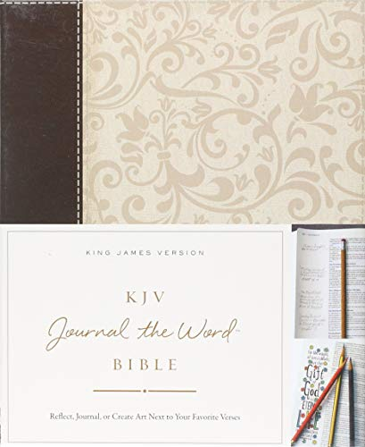 KJV, Journal the Word Bible, Leathersoft, Brown/Cream, Red Letter Edition: Reflect, Journal, or Create Art Next to Your Favorite Verses