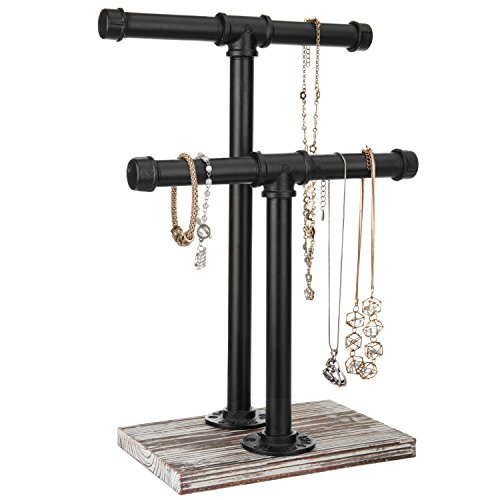 MyGift Urban Rustic 2-Tier Pipe & Wood T-Bar Necklace Stand