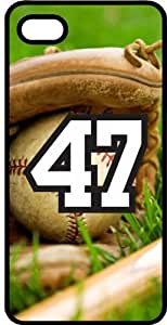 Baseball Sports Fan Player Number 47 Black Plastic Decorative iPhone 6 Case by runtopwell