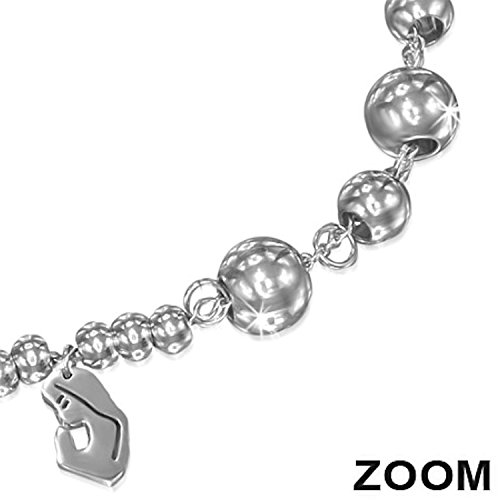 Religious Praying Virgin Mary Stainless Steel Charm Link Rosary Bracelet