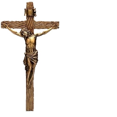 (Roman Jesus Christ Nailed to Crucifix Bronze 13 Inch Resin Stone Wall Cross Crucifix)