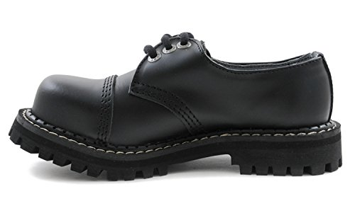 ANGRY ITCH - 3-Loch Gothic Punk Army Ranger Armee Leder Schuhe mit Stahlkappe