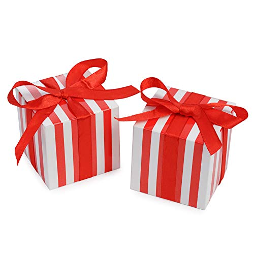 (AWELL Small Red Gift Candy Box Bulk 2x2x2 inch with Red Ribbon, Red White Strips Party Favor Box, Pack of 50)