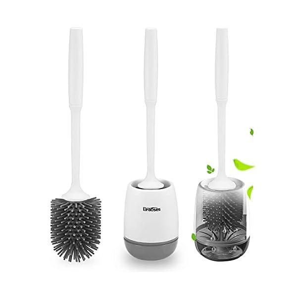 41QMXg9oQmS Braoses WC Bürste Wandmontage & Stehen Silikon Toilettenbürste mit Halter Set Langer Stiel klobürste und schnell…