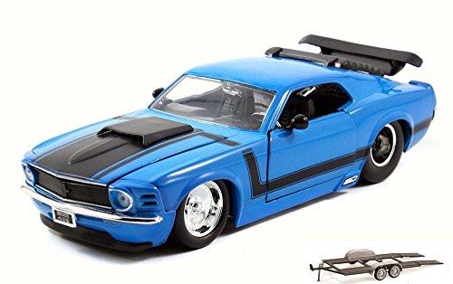 Diecast Car & Trailer Package - 1970 Ford Mustang Boss 429, Blue - JADA 98026 - 1/24 Scale Diecast Model Toy Car w/Trailer -  ModelToyCars, 98026-JADA-BLUE-76001-BDL