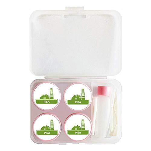 (Pisa Italy Green Landmark Pattern Contact Lens Case Bulk Tweezers Container Holder)