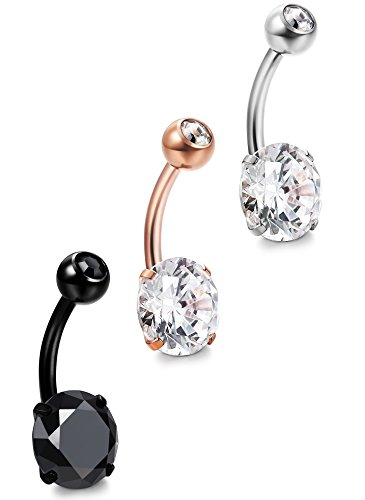 ORAZIO 3Pcs 14G Stainless Steel Belly Button Rings Cubic Zirconia Navel Bars Body Piercing (Stainless Steel Shamrock Ring)
