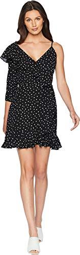 Jack by BB Dakota Junior's Hotline Bling Polkadot CDC One Sleeve Dress, Black, 2