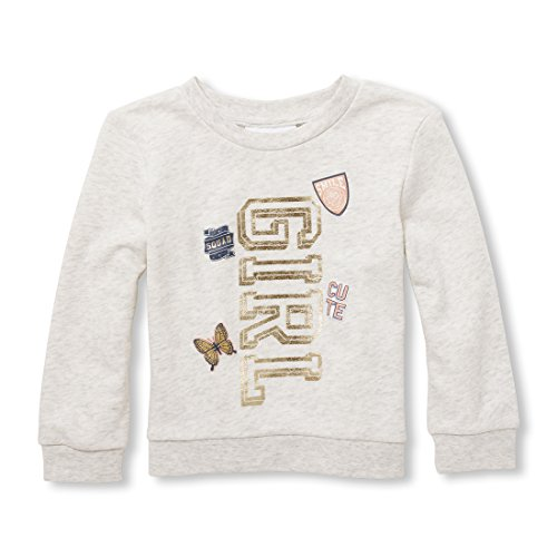 Sweatshirt Girl Kids Places - The Children's Place Baby Girls Graphic Popover Sweatshirt, Heather/T Lunar, 12-18MOS