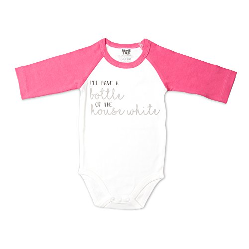 3/4 Sleeve Bib - Sidewalk Talk - I'll have a Bottle of the House White Pink Baby Girl 3/4 Long Sleeve Onesie 6-12 Months