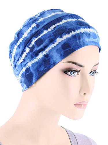 Center Stripe Cap - Chemo Cap Womens Beanie Sleep Turban Hat Headwear For Cancer In Blue Tie Dye Stripe