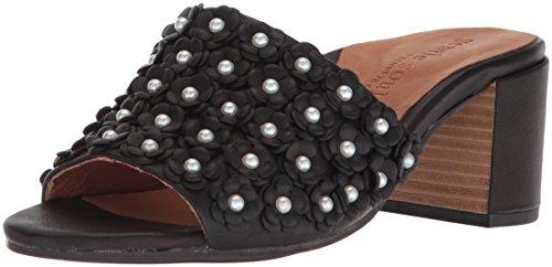 Gentle Souls Women Chantel-La 2 Floral Applique Mid-Heel Slip on Mule Heeled Sandal Black