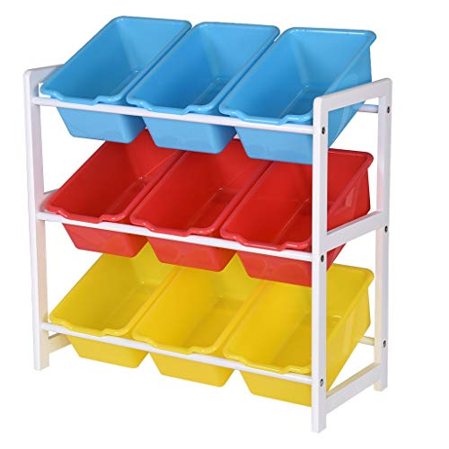 Orcbee  _Solid Wood Toy Rack Kids' Toy Storage Organizer Children Finishing Storage Rack ()
