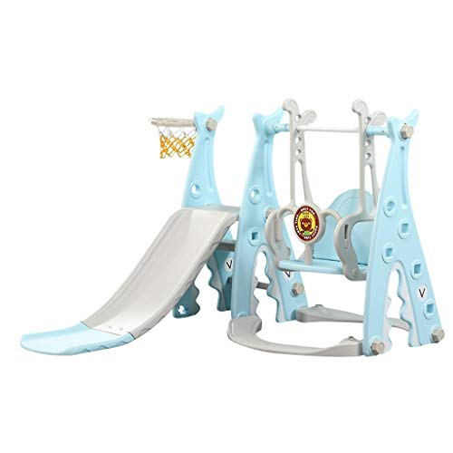 Toddler Slides and Swing Set, 3 in 1 Climber Slide Playset with Basketball Hoop, Plastic Play Slide and Sturdy Swing for Kids Ages 1 and up, Kids Slide for Both Indoors Outdoor Use (Blue)