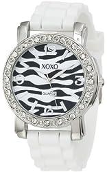 XOXO Women's XO8056 Rhinestones Accent White Silicone Strap Watch