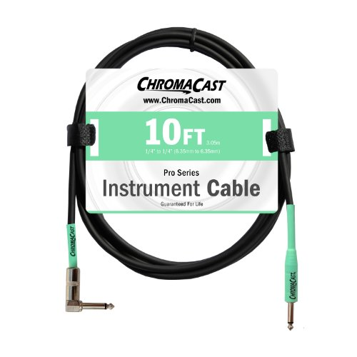 ChromaCast Pro Series Cables CC-PSCBLSA-10SGR Surf Green 10-Feet Pro Series Instrument Cable, Angle - (Skull Instrument Cable)