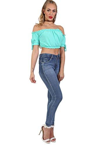 Tinta Unita Elasticizzati Blu Jeans Aderenti Denim In wgqIAI