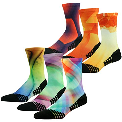 HUSO Men's Women's Colorful Arch Support Anti-blister Seamless Performance Cycling Basketball Socks 6 Piars (Multicolor, L/XL)
