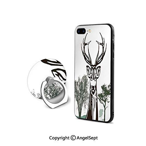 iPhone 8 Case/iPhone 7 Case with Ring Holder Kickstand,Deer Moose with Trees Silhouettes Outline of Village Mountain Fall Forest Decorative,Shockproof Protection,