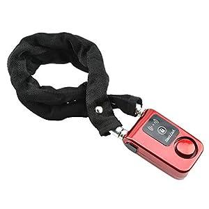 Blocco catena moto, Impermeabile catena di blocco della bicicletta Bluetooth intelligente con forte lucchetto, 110dB di…