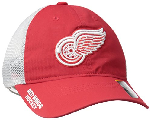 adidas NHL Detroit Wings Adult Men Pro Authentic Meshback Slouch Flex, Small/Medium, Red ()