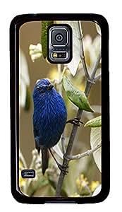 Samsung Galaxy S5 carry cover Flowers Bird PC Black Custom Samsung Galaxy S5 Case Cover