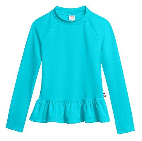 Shirt City Threads (City Threads Little Girls' Solid Rashguard Swimming Tee for The Beach or Pool Peplum Sun Protection SPF50+ Swim Tee for The Beach or Pool, Turquoise, 6)