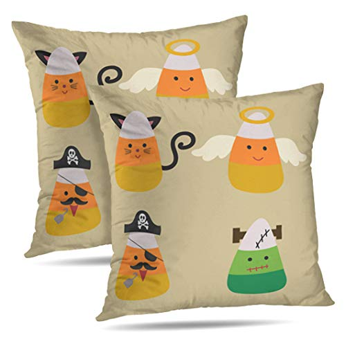 Alricc Set of 2 Candy Wearing Halloween Black Cat Angel Pirate and Cute Cartoon Decorative Throw Pillows Cushion Cover for Bedroom Sofa Living Room 18X18 Inches