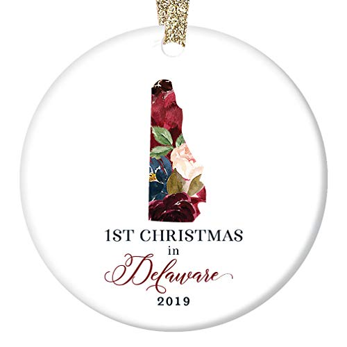 Christmas 2019 Porcelain Tree Ornament Keepsake First 1st Holiday Living in DELAWARE U.S.A. Ceramic Collectible Present Family Coworker Friends Pretty Floral 3