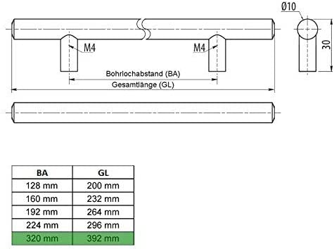 SO-TECH/® G18 M/öbelgriff Stangengriff Relinggriff echt Edelstahlrohr /Ø 10 mm//BA 128 mm