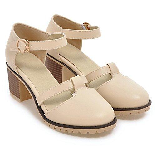 strap Chunky Heel T Women's Toe Creamy white Pumps Platform Round Shoes XY61w