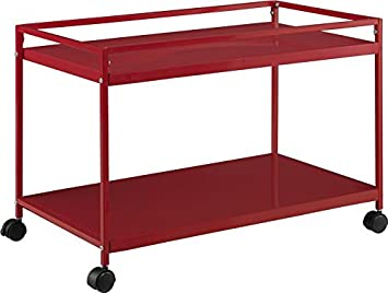 Marshall 2 Shelf Rolling Coffee Table Cart, Red Finish