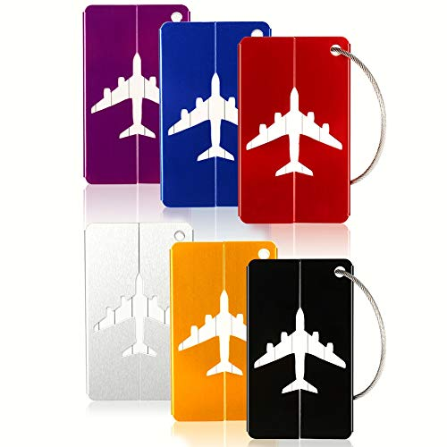 6PCS Metal Travel Luggage Tags Strings Card, Upgrade Suitcase Travel ID Bag ()