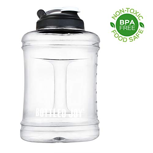 BOTTLED JOY Water Jug 2.5L/83oz Large Capacity Sports Water Bottle with Handle,Reusable BPA Free Plastic Water Bottle,Home Drinking Water Jug,Big Water Bottle for Outdoor Hiking & Gym. (Clear)